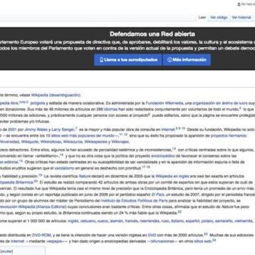 Wikipedia protesta en contra de reforma a la ley de derechos de autor en la UE