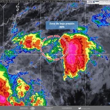 Baja presión en el Mar Caribe con 30% de probabilidad de desarrollo ciclónico.