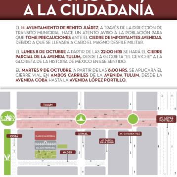 Previene Tránsito Municipal cierre de calles por desfile Militar